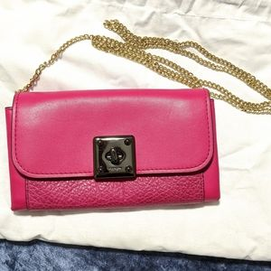 Coach Drifter crossbody wallet chain pink gunmetal
